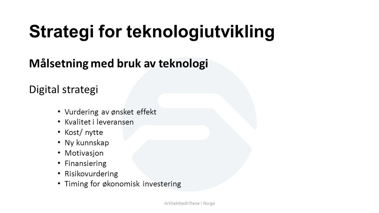 Strategi for teknologiutvikling Målsetning med bruk av teknologi Digital strategi Vurdering av ønsket effekt Kvalitet i leveransen Kost/ nytte Ny kunnskap Motivasjon Finansiering Risikovurdering Timing for økonomisk investering Arkitektbedriftene i Norge