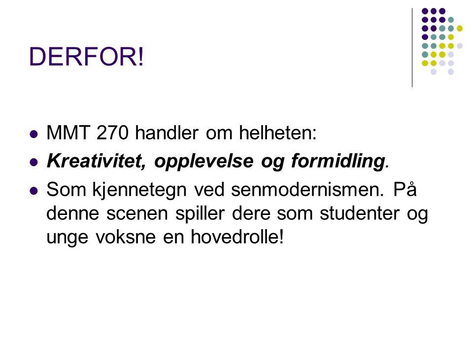 DERFOR. MMT 270 handler om helheten: Kreativitet, opplevelse og formidling.