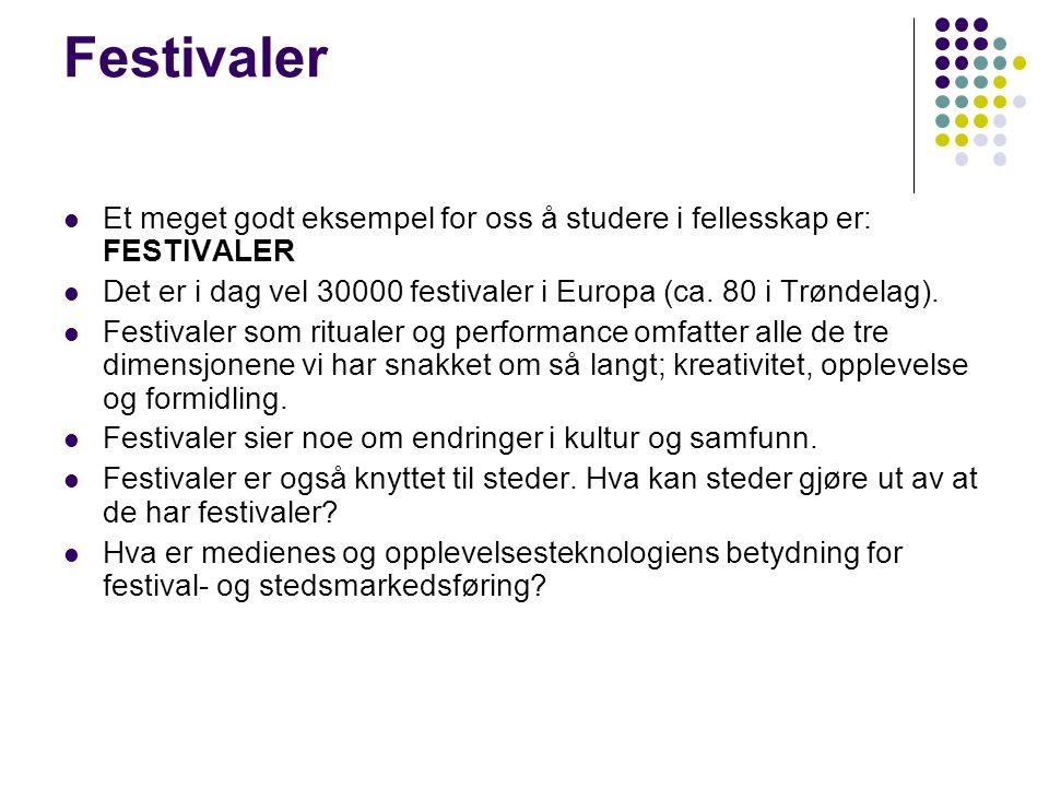 Festivaler Et meget godt eksempel for oss å studere i fellesskap er: FESTIVALER Det er i dag vel 30000 festivaler i Europa (ca.