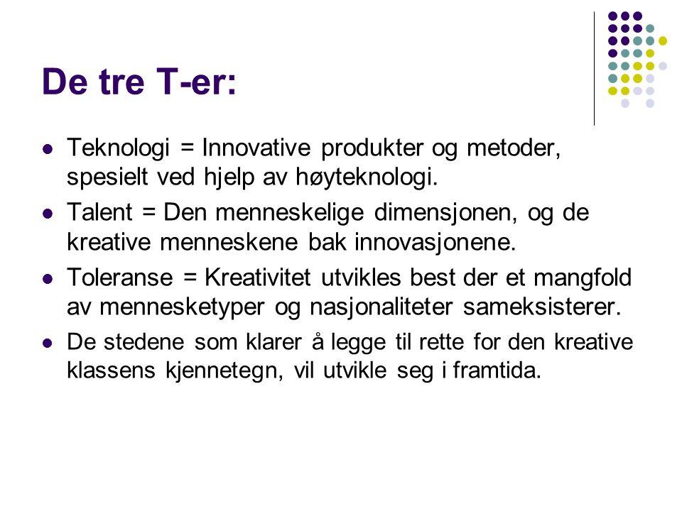 De tre T-er: Teknologi = Innovative produkter og metoder, spesielt ved hjelp av høyteknologi.
