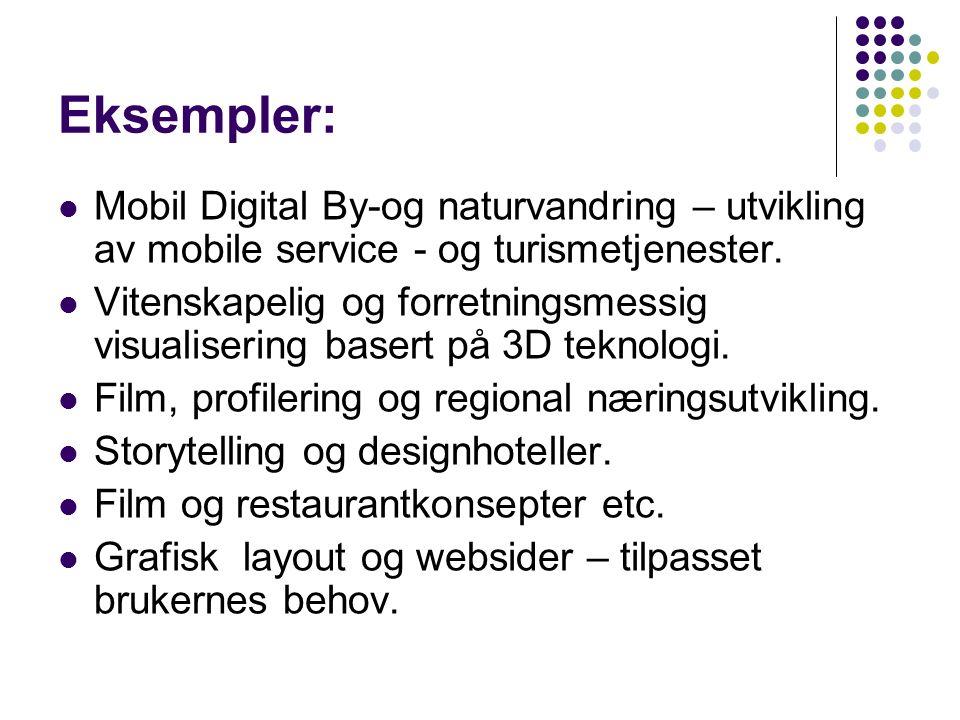 Eksempler: Mobil Digital By-og naturvandring – utvikling av mobile service - og turismetjenester.