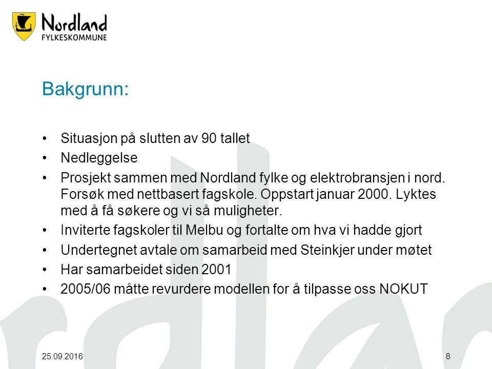 Bakgrunn: Situasjon på slutten av 90 tallet Nedleggelse Prosjekt sammen med Nordland fylke og elektrobransjen i nord.
