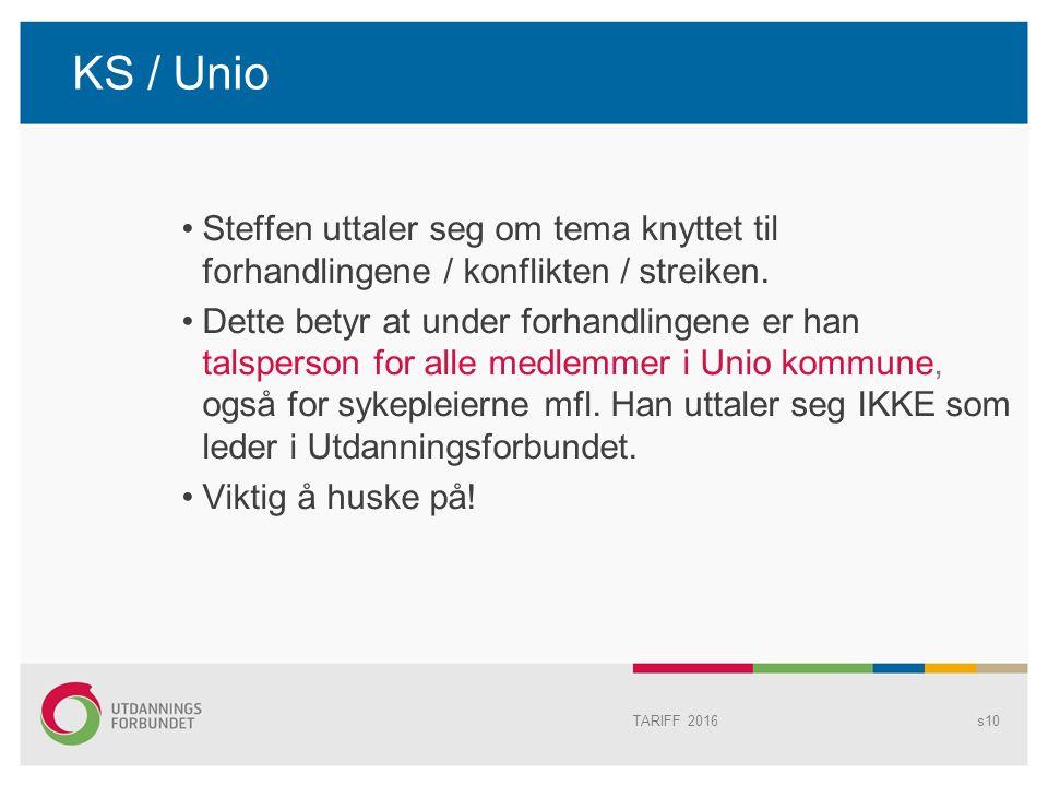KS / Unio Steffen uttaler seg om tema knyttet til forhandlingene / konflikten / streiken.