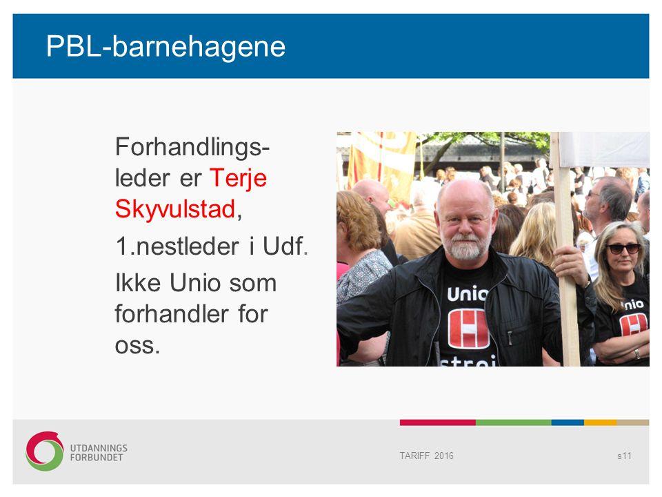 PBL-barnehagene Forhandlings- leder er Terje Skyvulstad, 1.nestleder i Udf.
