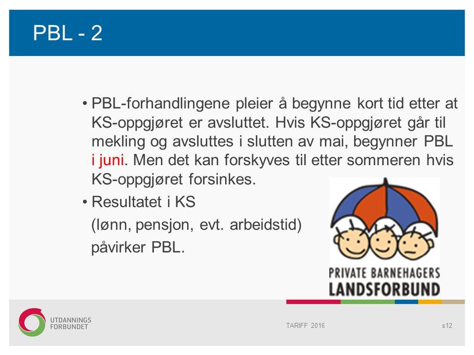 PBL - 2 PBL-forhandlingene pleier å begynne kort tid etter at KS-oppgjøret er avsluttet.