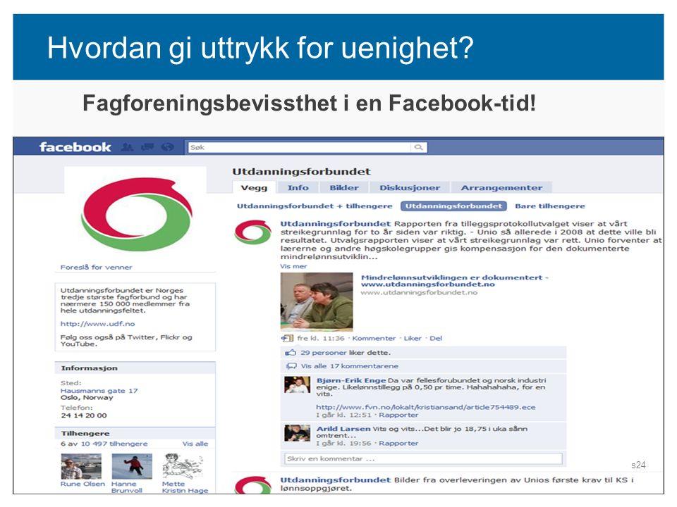 Hvordan gi uttrykk for uenighet? TARIFF 2016 Fagforeningsbevissthet i en Facebook-tid! s24
