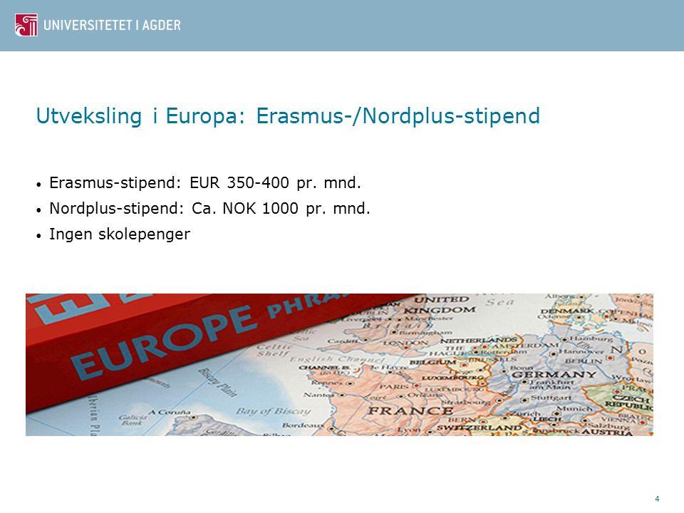 4 Utveksling i Europa: Erasmus-/Nordplus-stipend Erasmus-stipend: EUR 350-400 pr.