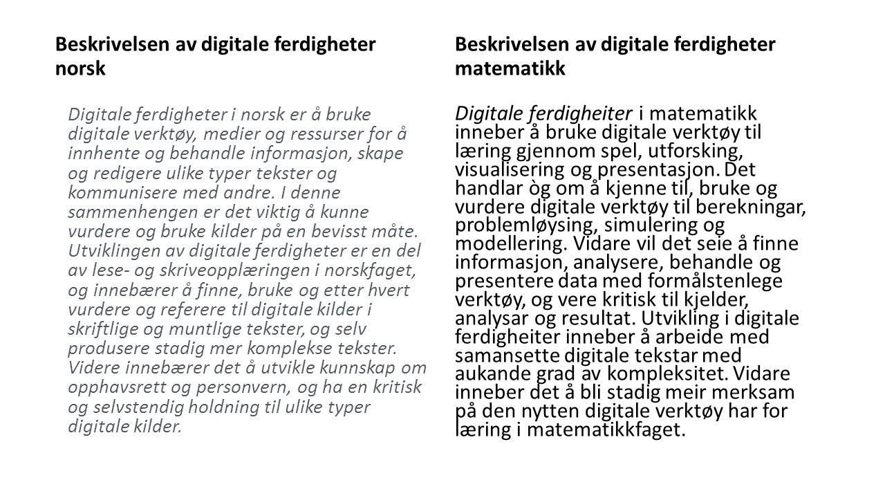 Beskrivelsen av digitale ferdigheter norsk Digitale ferdigheter i norsk er å bruke digitale verktøy, medier og ressurser for å innhente og behandle informasjon, skape og redigere ulike typer tekster og kommunisere med andre.