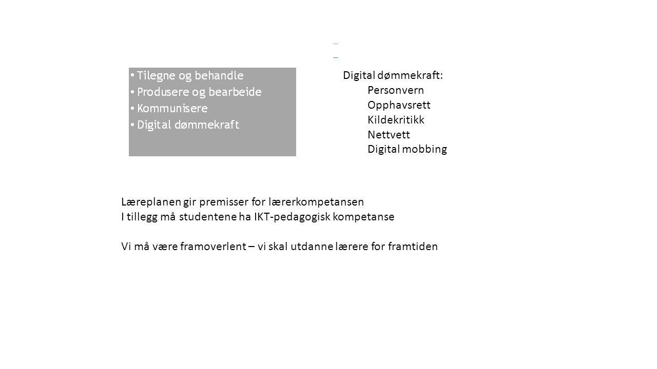 Læreplanen gir premisser for lærerkompetansen I tillegg må studentene ha IKT-pedagogisk kompetanse Vi må være framoverlent – vi skal utdanne lærere for framtiden Digital dømmekraft: Personvern Opphavsrett Kildekritikk Nettvett Digital mobbing