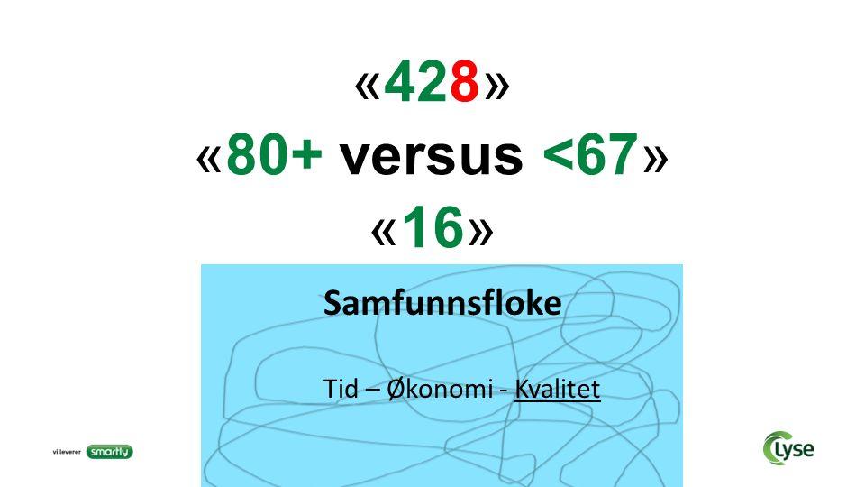 «428» «80+ versus <67» «16» Samfunnsfloke Tid – Økonomi - Kvalitet