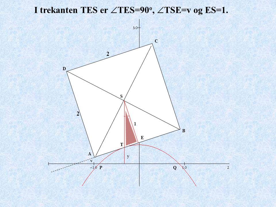 A B C D PQ y 2 2 v I trekanten TES er  TES=90 o,  TSE=v og ES=1. v S T E 1