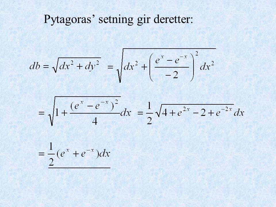 Pytagoras' setning gir deretter: