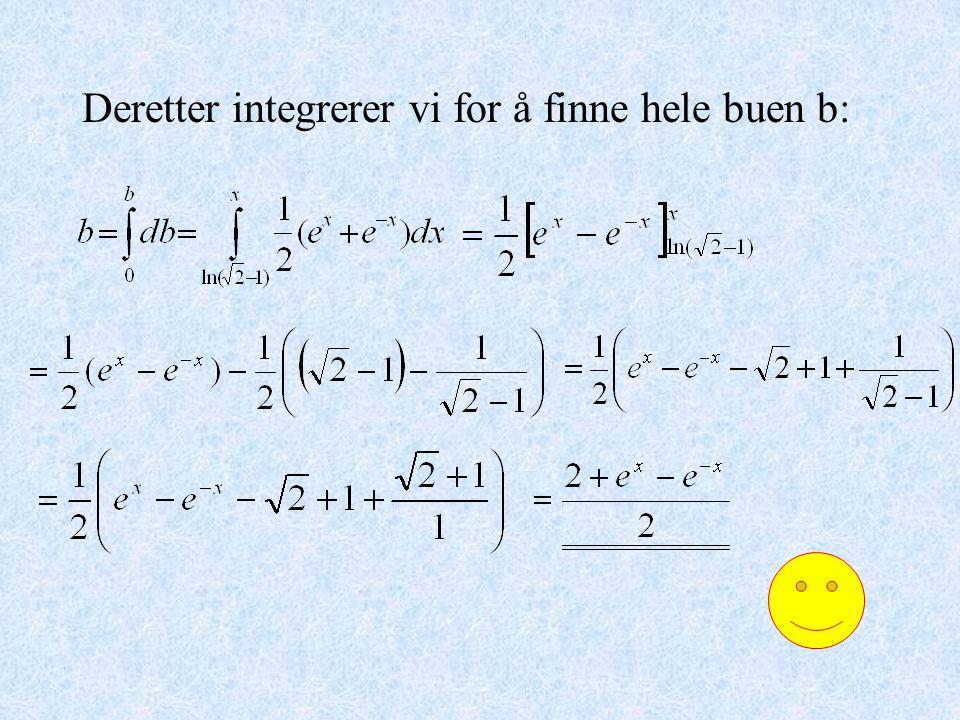 Deretter integrerer vi for å finne hele buen b: