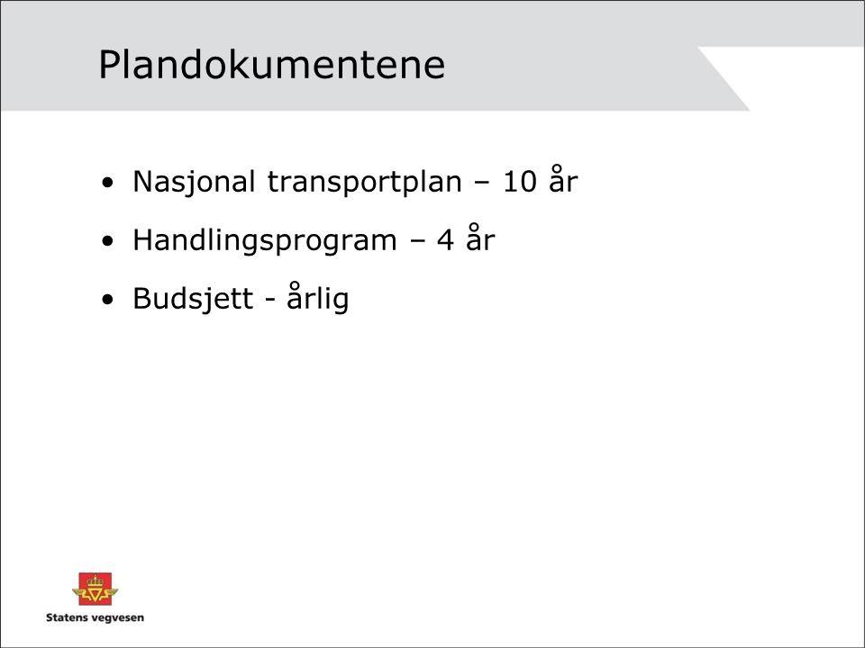 Nasjonal transportplan Lagt fram som stortingsmelding mars 2009 Behandlet i Stortinget i juni 2009