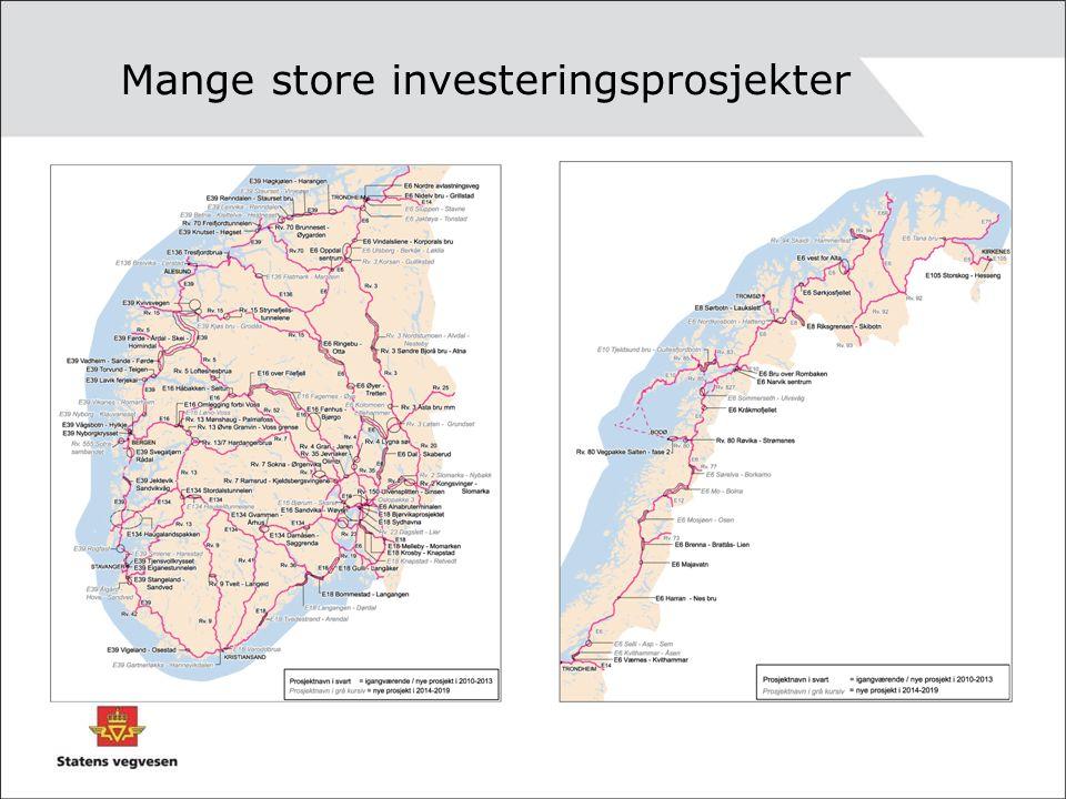 Mange store investeringsprosjekter