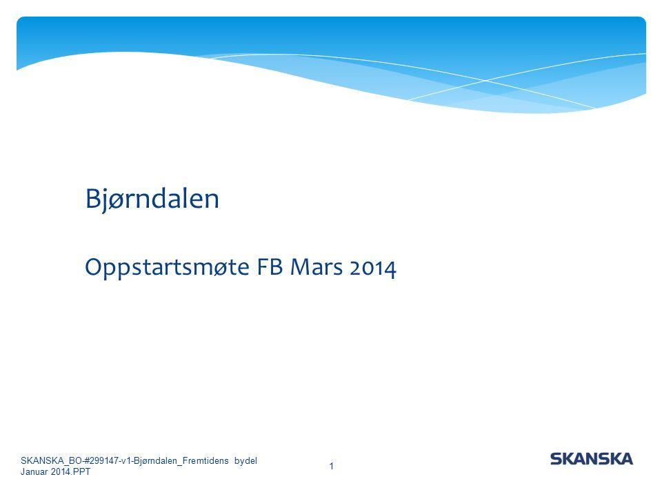 SKANSKA_BO-#299147-v1-Bjørndalen_Fremtidens bydel Januar 2014.PPT 1 Bjørndalen Oppstartsmøte FB Mars 2014