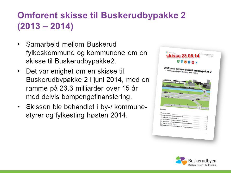 Omforent skisse til Buskerudbypakke 2 (2013 – 2014) Samarbeid mellom Buskerud fylkeskommune og kommunene om en skisse til Buskerudbypakke2.