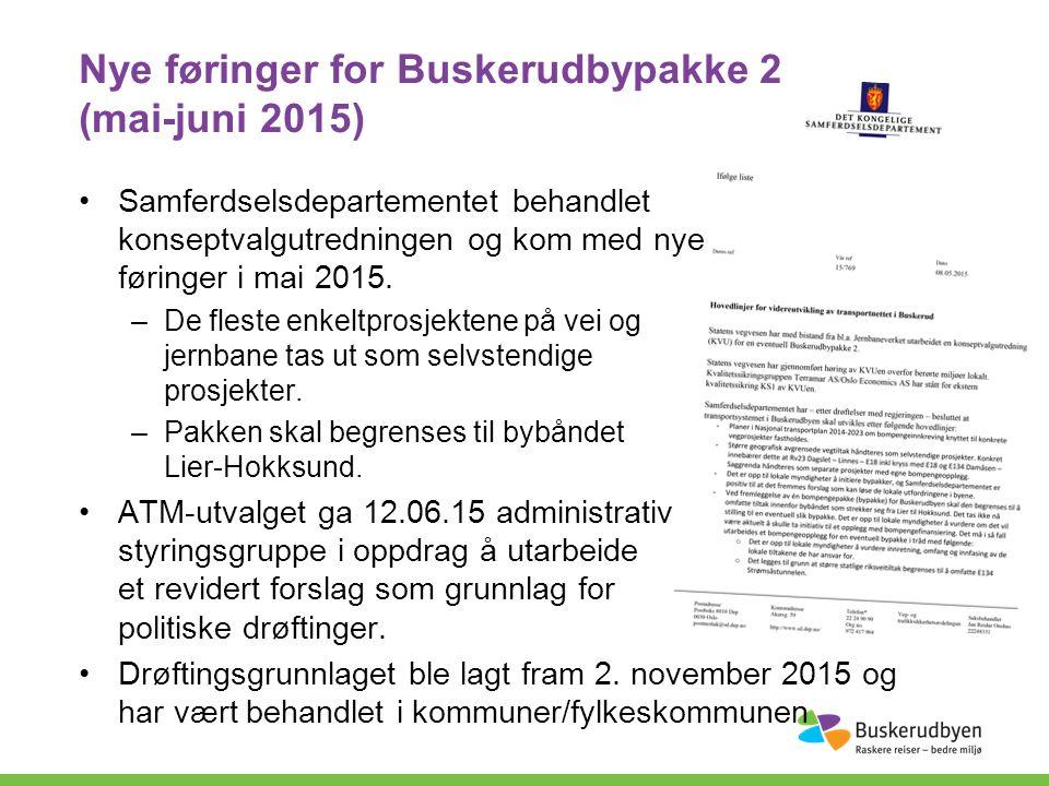 Nye føringer for Buskerudbypakke 2 (mai-juni 2015) Samferdselsdepartementet behandlet konseptvalgutredningen og kom med nye føringer i mai 2015.