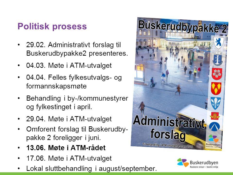 Politisk prosess 29.02. Administrativt forslag til Buskerudbypakke2 presenteres.