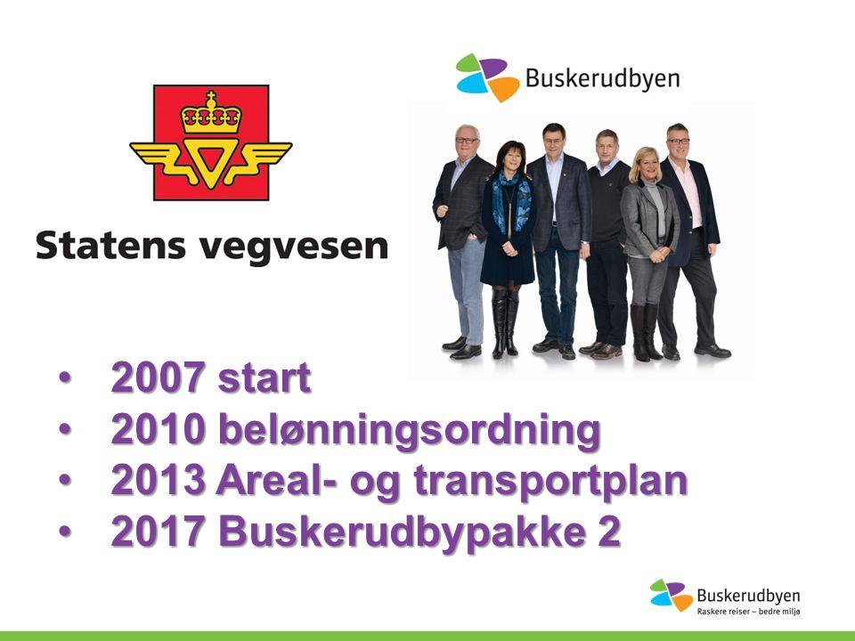 2007 start2007 start 2010 belønningsordning2010 belønningsordning 2013 Areal- og transportplan2013 Areal- og transportplan 2017 Buskerudbypakke 22017