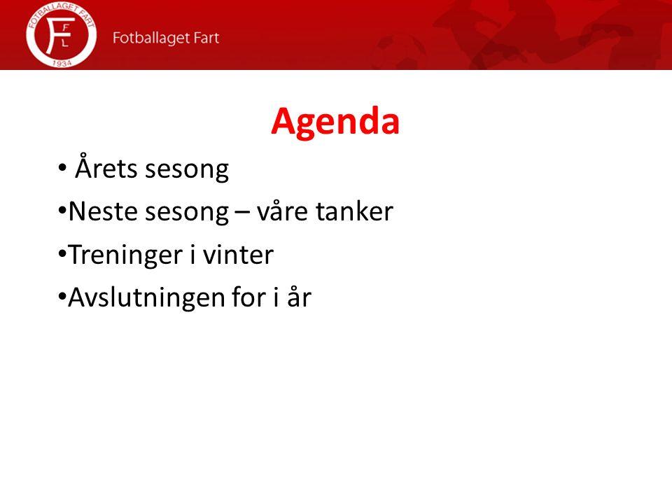 Agenda Årets sesong Neste sesong – våre tanker Treninger i vinter Avslutningen for i år