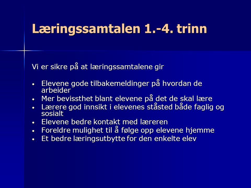 Læringssamtalen 1.-4. trinn Vi er sikre på at læringssamtalene gir Elevene gode tilbakemeldinger på hvordan de arbeider Elevene gode tilbakemeldinger