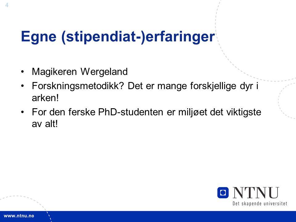 4 Egne (stipendiat-)erfaringer Magikeren Wergeland Forskningsmetodikk.