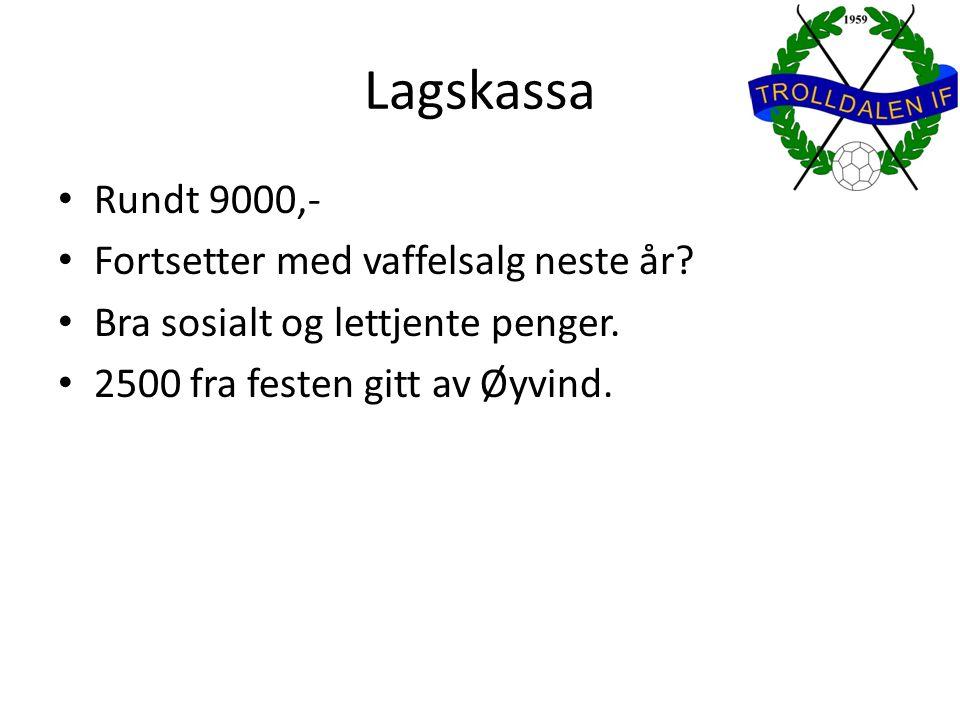 Lagskassa Rundt 9000,- Fortsetter med vaffelsalg neste år? Bra sosialt og lettjente penger. 2500 fra festen gitt av Øyvind.