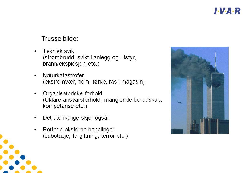 Trusselbilde: Teknisk svikt (strømbrudd, svikt i anlegg og utstyr, brann/eksplosjon etc.) Naturkatastrofer (ekstremvær, flom, tørke, ras i magasin) Organisatoriske forhold (Uklare ansvarsforhold, manglende beredskap, kompetanse etc.) Det utenkelige skjer også: Rettede eksterne handlinger (sabotasje, forgiftning, terror etc.)