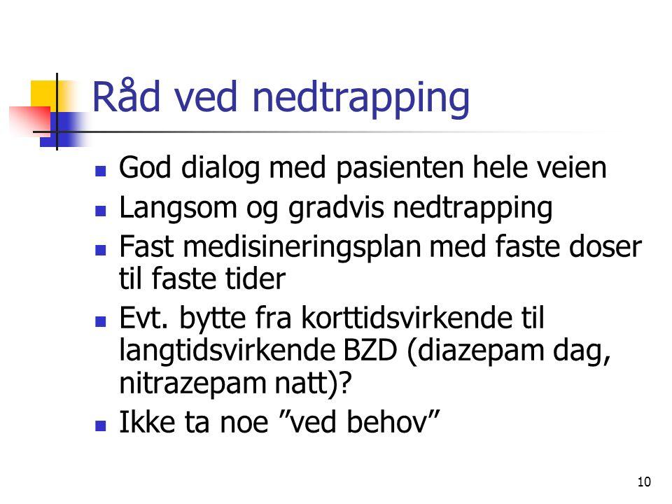10 Råd ved nedtrapping God dialog med pasienten hele veien Langsom og gradvis nedtrapping Fast medisineringsplan med faste doser til faste tider Evt.