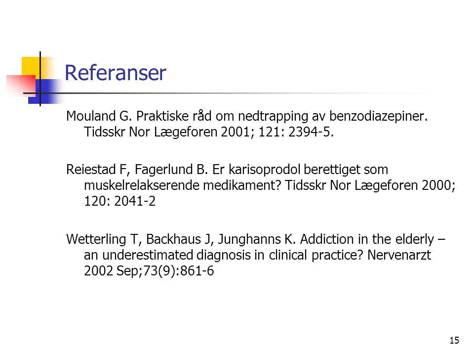 15 Referanser Mouland G. Praktiske råd om nedtrapping av benzodiazepiner.
