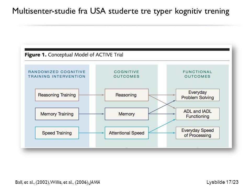 Lysbilde 17/23 Multisenter-studie fra USA studerte tre typer kognitiv trening Ball, et al., (2002), Willis, et al., (2006), JAMA
