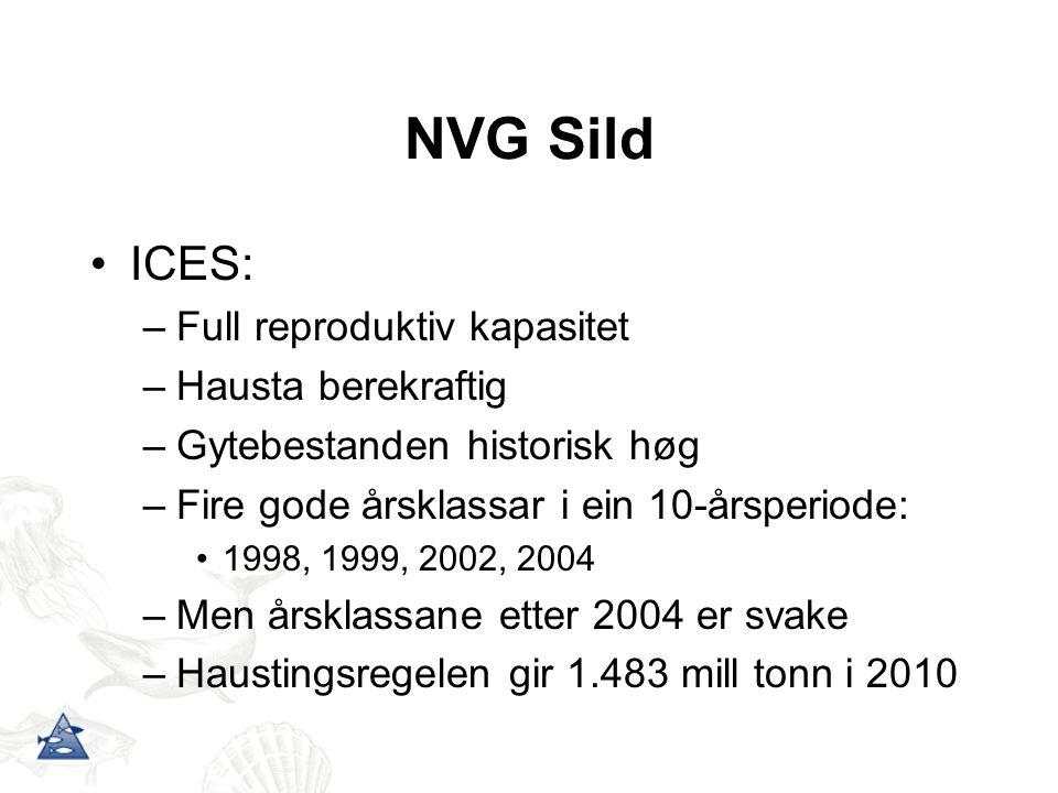 ICES: –Full reproduktiv kapasitet –Hausta berekraftig –Gytebestanden historisk høg –Fire gode årsklassar i ein 10-årsperiode: 1998, 1999, 2002, 2004 –