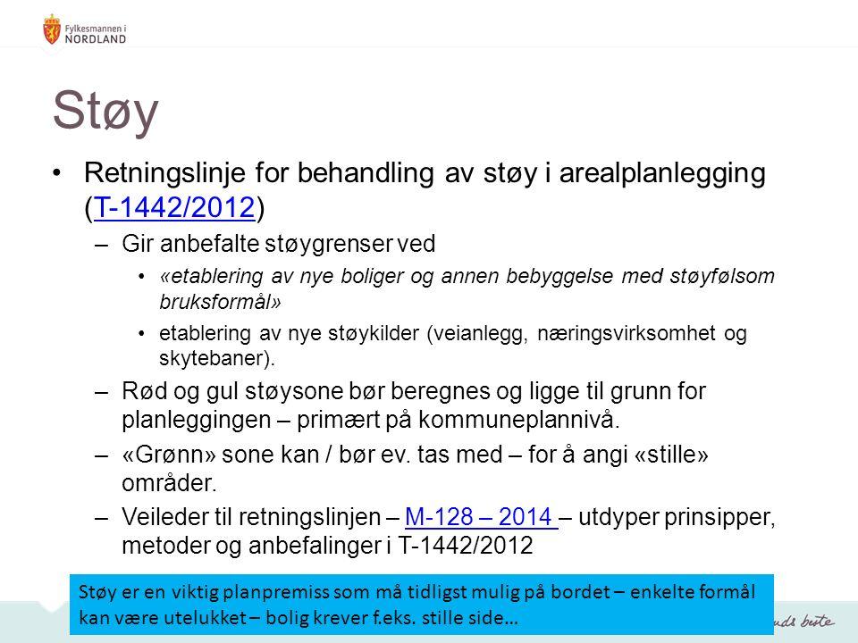 Støy Retningslinje for behandling av støy i arealplanlegging (T-1442/2012)T-1442/2012 –Gir anbefalte støygrenser ved «etablering av nye boliger og annen bebyggelse med støyfølsom bruksformål» etablering av nye støykilder (veianlegg, næringsvirksomhet og skytebaner).