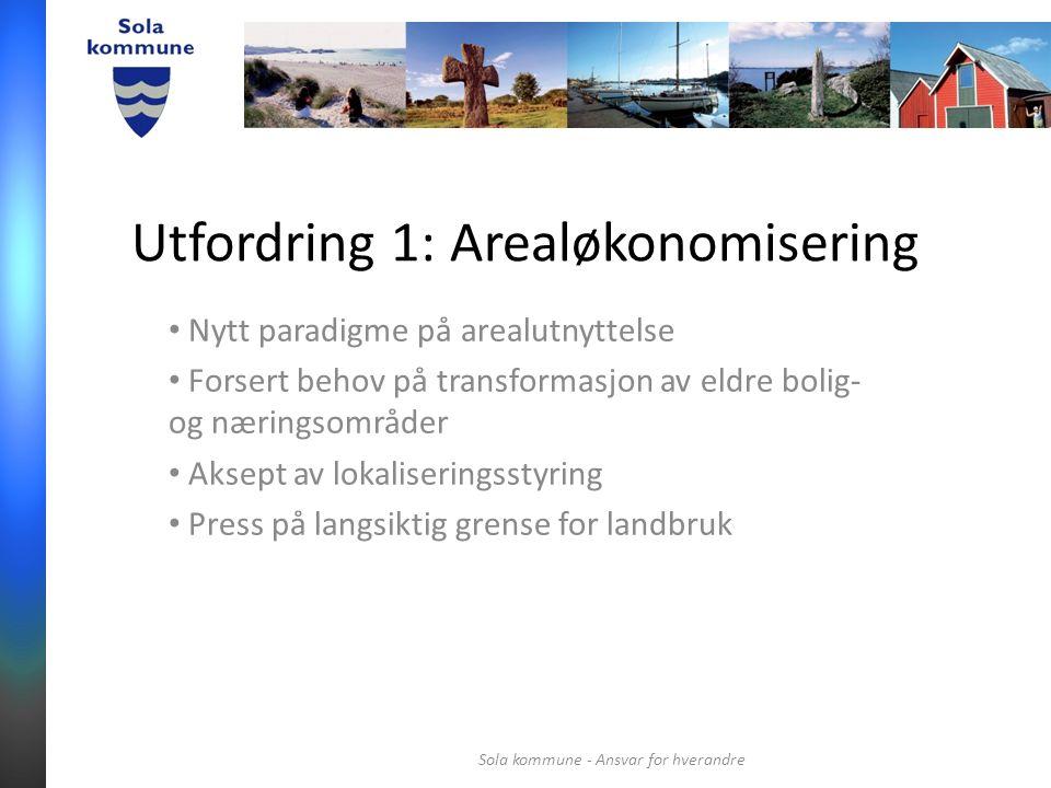 Utfordring 1: Arealøkonomisering Nytt paradigme på arealutnyttelse Forsert behov på transformasjon av eldre bolig- og næringsområder Aksept av lokaliseringsstyring Press på langsiktig grense for landbruk Sola kommune - Ansvar for hverandre