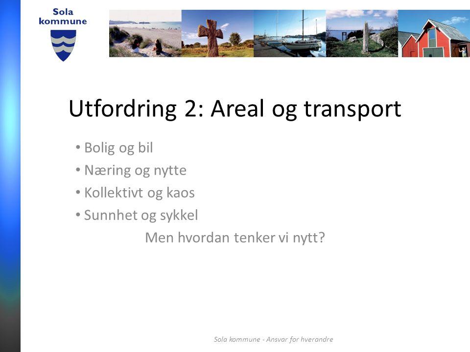 Utfordring 2: Areal og transport Bolig og bil Næring og nytte Kollektivt og kaos Sunnhet og sykkel Men hvordan tenker vi nytt.