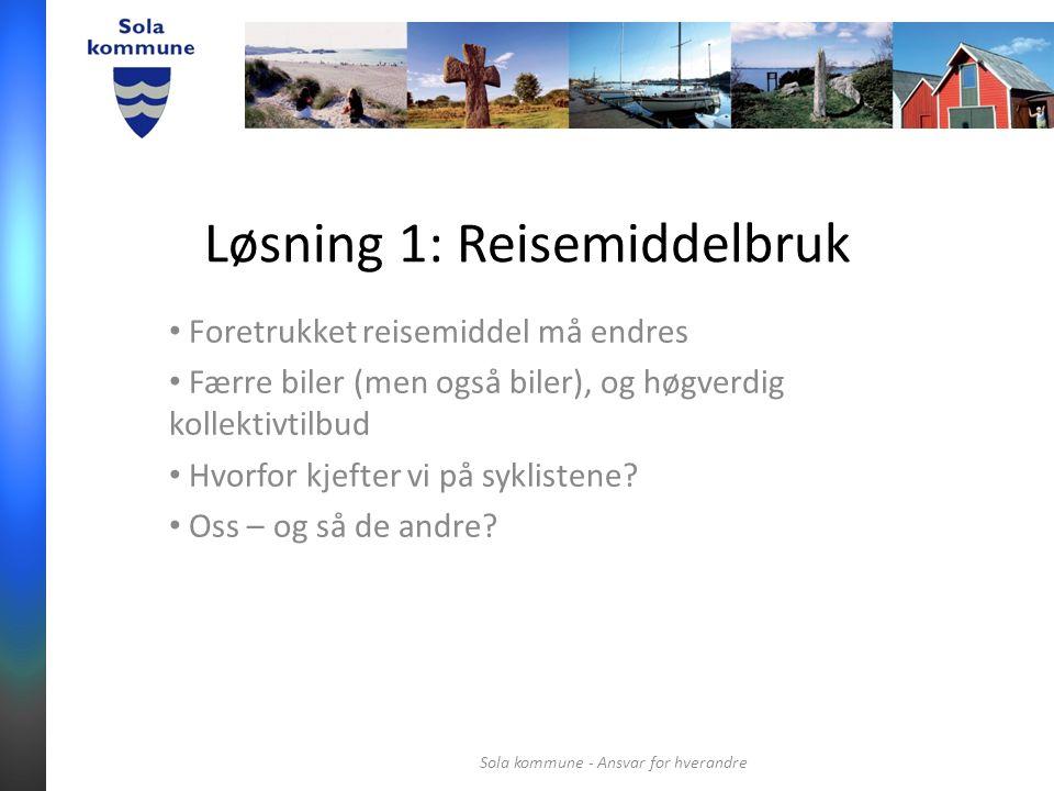 Løsning 1: Reisemiddelbruk Foretrukket reisemiddel må endres Færre biler (men også biler), og høgverdig kollektivtilbud Hvorfor kjefter vi på syklistene.