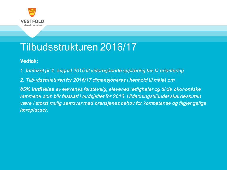 Tilbudsstrukturen 2016/17 Vedtak: 1. Inntaket pr 4.