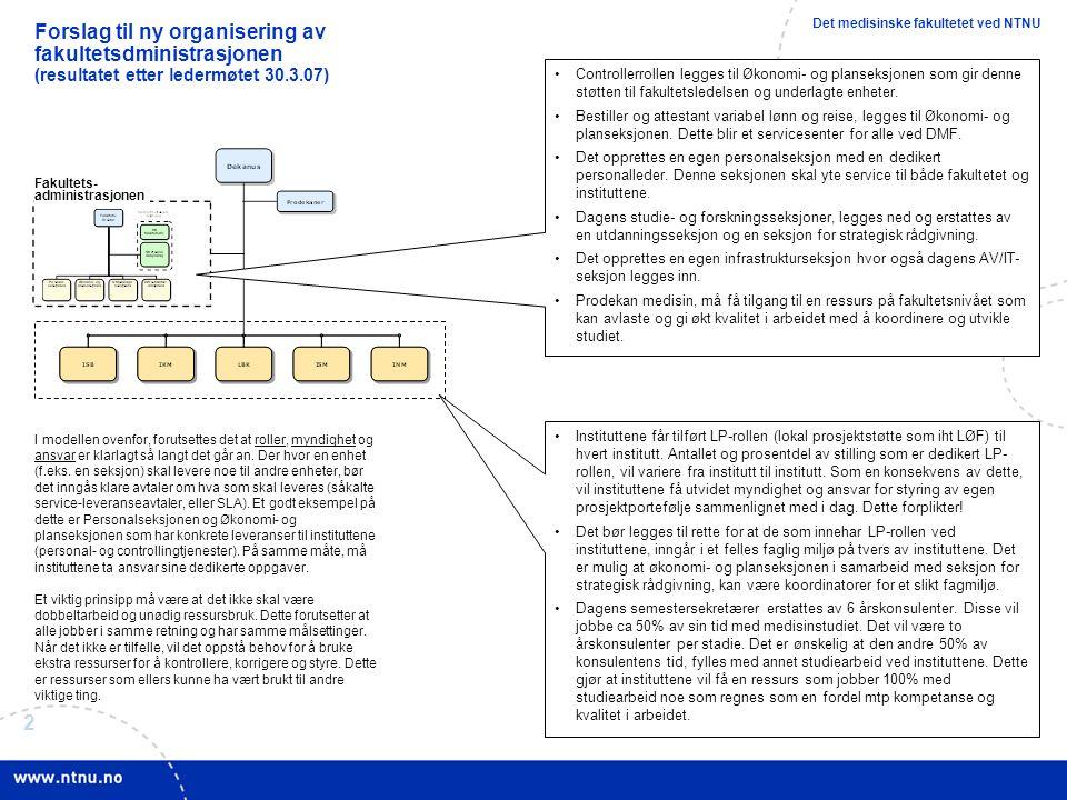 2 Forslag til ny organisering av fakultetsdministrasjonen (resultatet etter ledermøtet 30.3.07) Controllerrollen legges til Økonomi- og planseksjonen som gir denne støtten til fakultetsledelsen og underlagte enheter.
