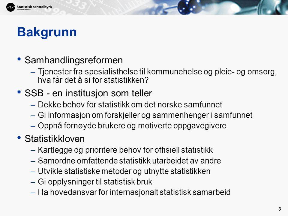 3 Bakgrunn Samhandlingsreformen –Tjenester fra spesialisthelse til kommunehelse og pleie- og omsorg, hva får det å si for statistikken.