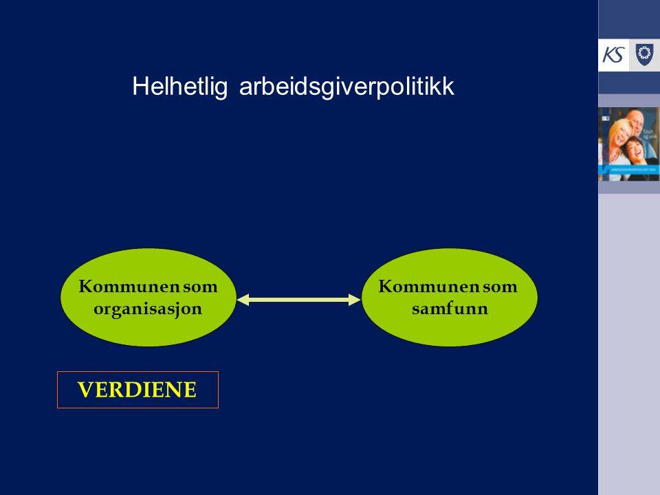 Helhetlig arbeidsgiverpolitikk Kommunen som organisasjon Kommunen som samfunn VERDIENE