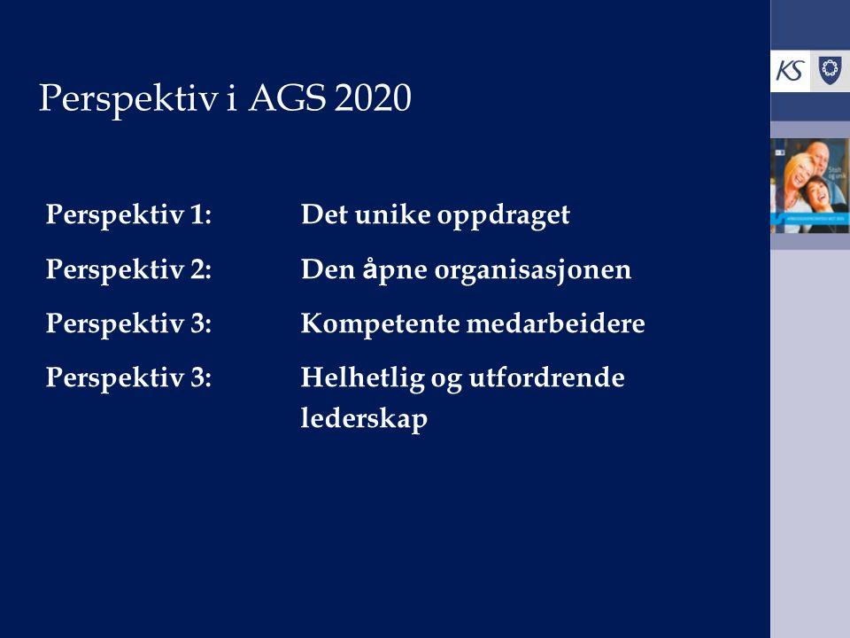 Perspektiv i AGS 2020 Perspektiv 1:Det unike oppdraget Perspektiv 2:Den å pne organisasjonen Perspektiv 3:Kompetente medarbeidere Perspektiv 3:Helhetlig og utfordrende lederskap