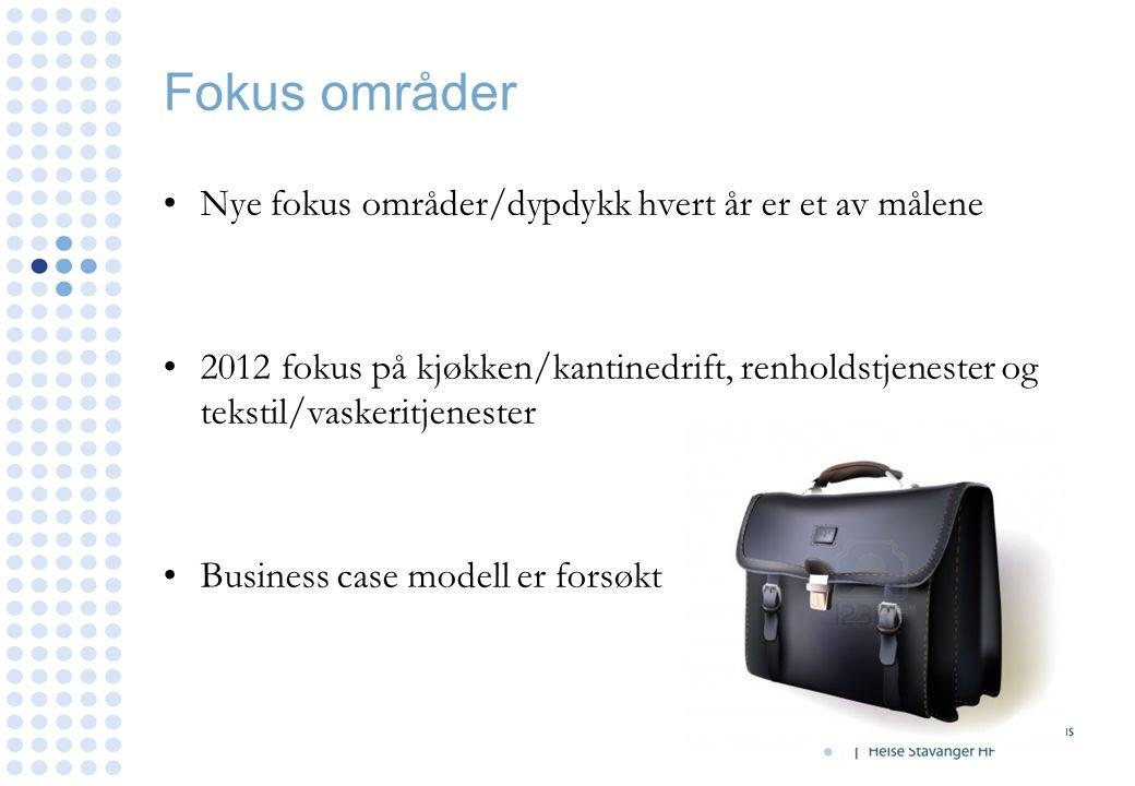 Fokus områder Nye fokus områder/dypdykk hvert år er et av målene 2012 fokus på kjøkken/kantinedrift, renholdstjenester og tekstil/vaskeritjenester Bus