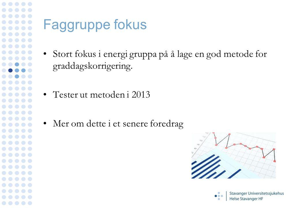 Faggruppe fokus Stort fokus i energi gruppa på å lage en god metode for graddagskorrigering. Tester ut metoden i 2013 Mer om dette i et senere foredra