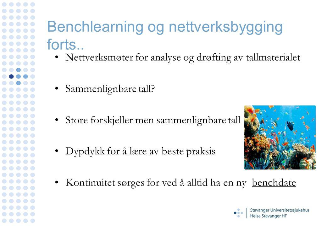 Benchlearning og nettverksbygging forts.. Nettverksmøter for analyse og drøfting av tallmaterialet Sammenlignbare tall? Store forskjeller men sammenli
