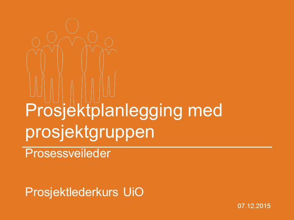 Prosjektplanlegging med prosjektgruppen Prosessveileder Prosjektlederkurs UiO 07.12.2015