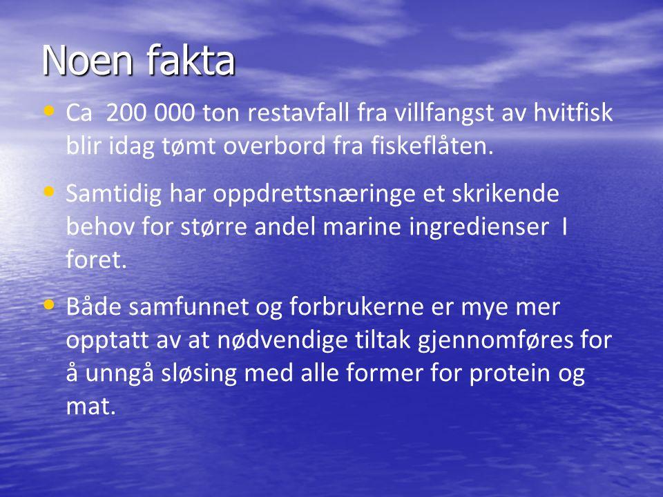 Noen fakta Ca 200 000 ton restavfall fra villfangst av hvitfisk blir idag tømt overbord fra fiskeflåten.