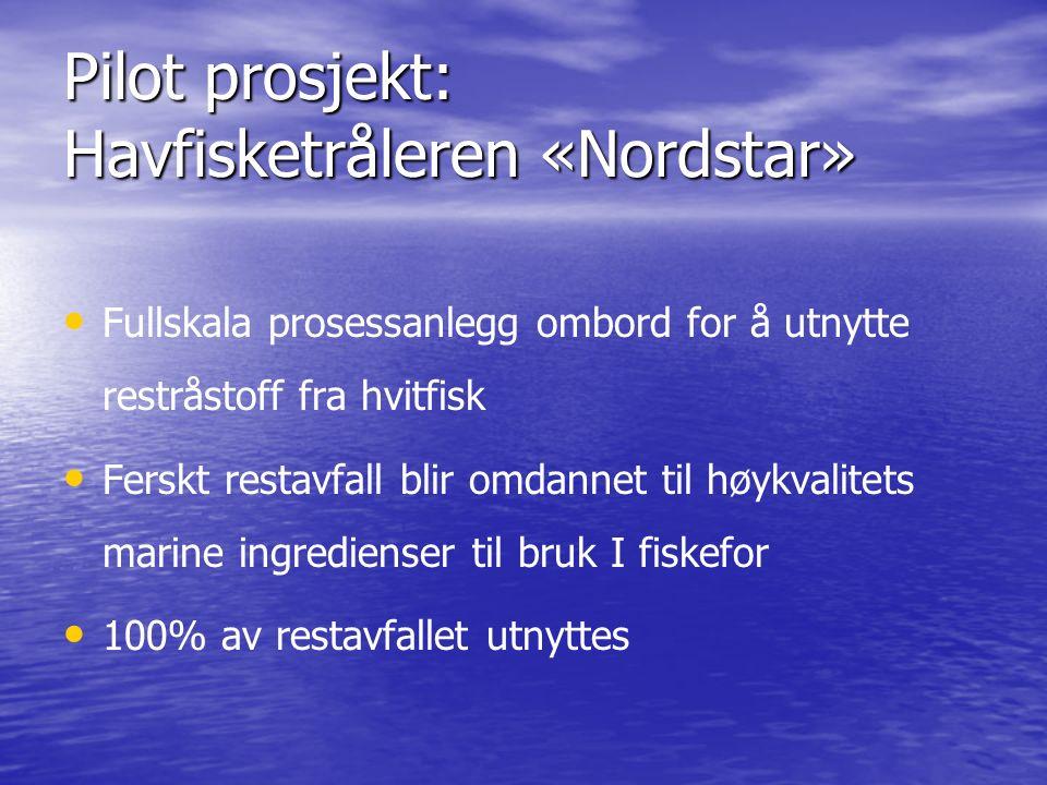 Pilot prosjekt: Havfisketråleren «Nordstar» Fullskala prosessanlegg ombord for å utnytte restråstoff fra hvitfisk Ferskt restavfall blir omdannet til høykvalitets marine ingredienser til bruk I fiskefor 100% av restavfallet utnyttes