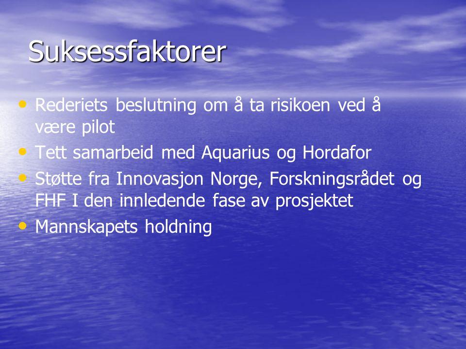 Suksessfaktorer Rederiets beslutning om å ta risikoen ved å være pilot Tett samarbeid med Aquarius og Hordafor Støtte fra Innovasjon Norge, Forskningsrådet og FHF I den innledende fase av prosjektet Mannskapets holdning