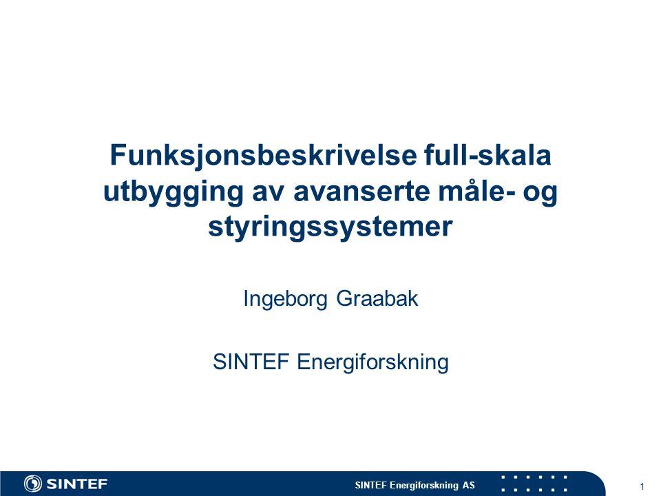 SINTEF Energiforskning AS 1 Funksjonsbeskrivelse full-skala utbygging av avanserte måle- og styringssystemer Ingeborg Graabak SINTEF Energiforskning